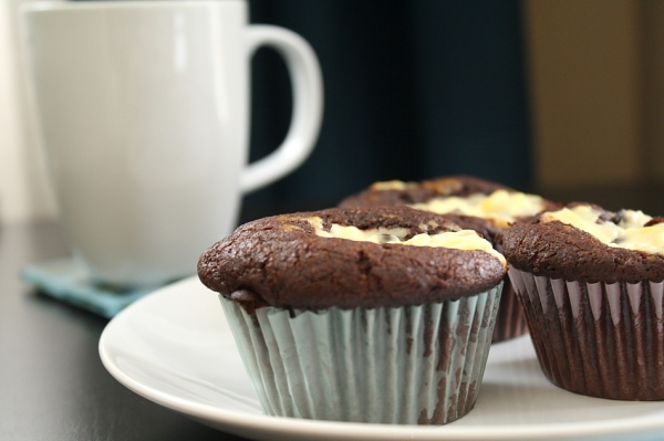 Chocolate Cream Cheese Topped Cupcakes