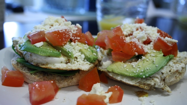Egg with Avocado, Feta and Tomatoes